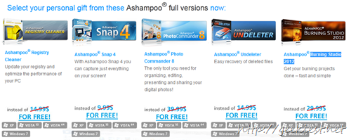 5 Ashampoo Products for free - Ashampoo Registry Cleaner, Snap 4, Photo Commander 8, Undeleter and Burning Studio 2012