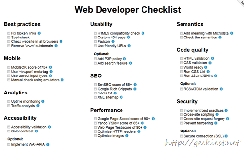 Checklist for Web Developers