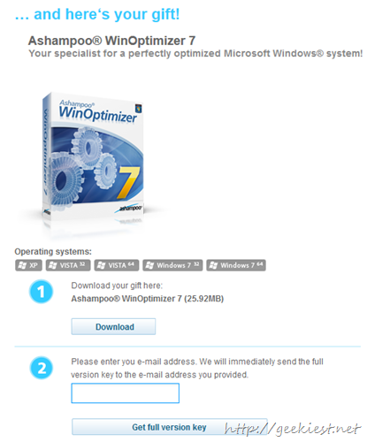 Free Ashampoo WinOptimizer 7