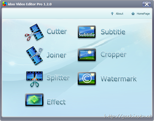idoo Video Editor Pro - Home screen