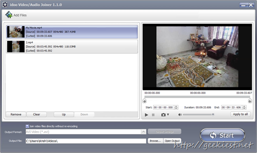 idoo Video Editor Pro Join videos